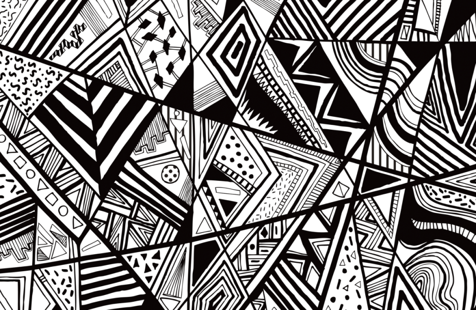 black-white-abstract-pattern-vector-line-drawing-graphic-pen-textile-pattern-vasare-nar-commission-summer-trend-contemporary-fashion-aztec-navajo-triangles